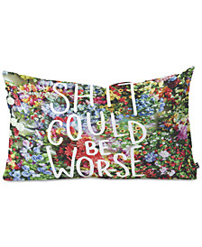 Deny Designs Floral Typography Oblong Throw Pillow