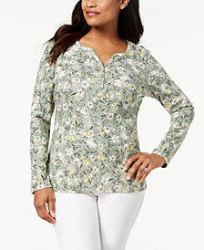 Karen Scott Printed Long-Sleeve Henley, Created for Macy's