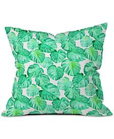 Little Arrow Design Co Tropical Watercolor Monstera Throw Pillow