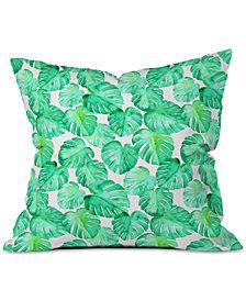 Deny Designs Little Arrow Design Co Tropical Watercolor Monstera Throw Pillow