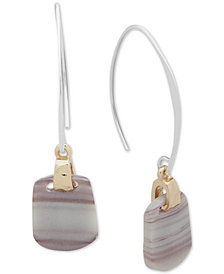 Nine West Tri-Tone Stone Threader Earrings