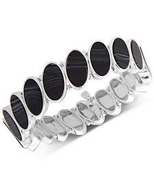 Nine West Silver-Tone Oval Stone Stretch Bracelet