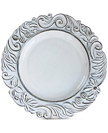 Jay Imports American Atelier Aristocrat White Antique Charger Plate