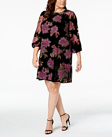 Calvin Klein Plus Size Floral Burnout Velvet Dress