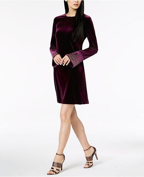 2dae5f50cd1 Calvin Klein Velvet Bling-Sleeve Dress   Reviews - Dresses - Women ...