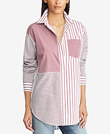 Lauren Ralph Lauren Petite Patchwork Cotton Shirt