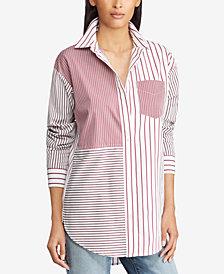 Lauren Ralph Lauren Petite Patchwork Cotton Shirt