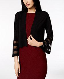 Calvin Klein Bell-Sleeve Shadow-Stripe Cardigan