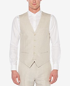 Perry Ellis Men's Linen Herringbone Vest