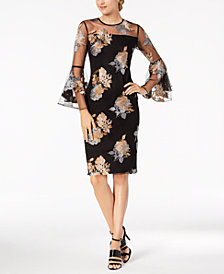 Calvin Klein Floral Illusion Mesh Bell-Sleeve Dress
