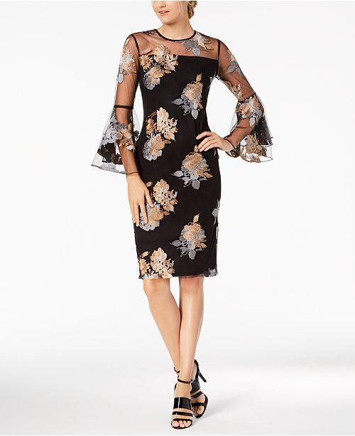 9a6687becf1a Calvin Klein Floral Illusion Mesh Bell-Sleeve Dress   Reviews ...