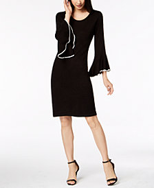 Calvin Klein Petite Bell-Sleeve Sweater Dress
