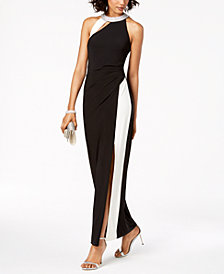 MSK Two-Tone Rhinestone Halter Gown