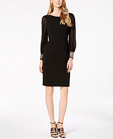 Calvin Klein Embellished-Cuff Sheath Dress