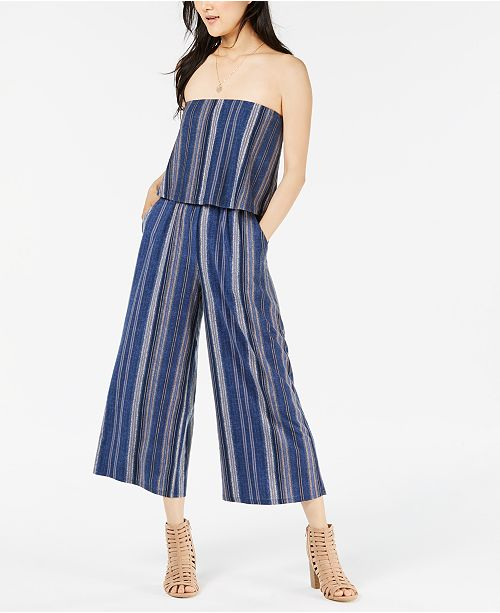 Strapless Popover Juniors' Bop Jumpsuit Blue Oatmeal Be qpzOEZwxx