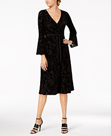 Calvin Klein Burnout Velvet Faux-Wrap Midi Dress