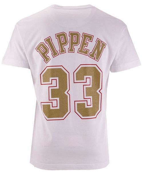 Mitchell & Ness Men's Scottie Pippen Chicago Bulls Gold Collection Name and Number T-Shirt