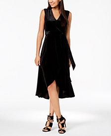 Avec Les Filles Velvet Faux-Wrap Dress