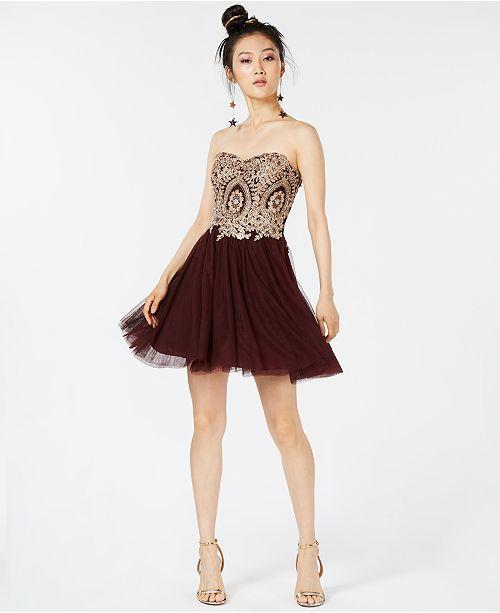 Studios Flare City Burgundy amp; Strapless Dress Appliqué Fit Juniors' 4qqRnxS