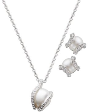 Swarovski Jewelry Set, Clear Crystal and Glass Pearl Pendant and Stud Earrings Set