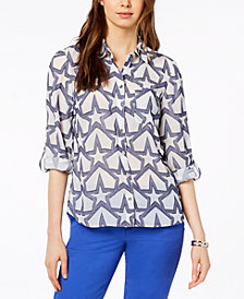 Tommy Hilfiger Star-Print Utility Shirt, Created for Macy's