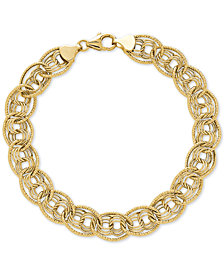 Multi-Ring Textured Chain Link Bracelet in 10k Gold