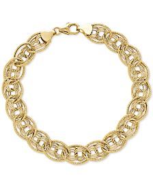 Multi-Ring Textured Chain Link Bracelet in 10k Gold