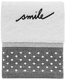 ED Ellen DeGeneres Words Cotton Embroidered Fingertip Towel