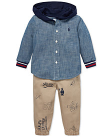 Ralph Lauren Baby Boys Cotton Chambray Hoodie & Joggers Set