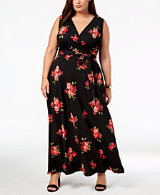 Love Squared Trendy Plus Size Faux-Wrap Maxi Dress