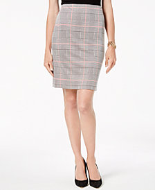 Nine West Plaid Pencil Skirt
