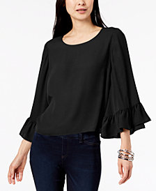 I.N.C. Petite Ruffle-Sleeve Top, Created for Macy's