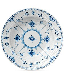 Blue Fluted Half Lace Rim Soup Bowl
