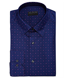 AlfaTech by Alfani Men's Slim-Fit Performance Stretch Diamond Star Print Dress Shirt, Created For Macy's