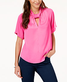 RACHEL Rachel Roy Keyhole Twist-Neck Top