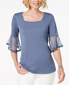 Love Scarlett Petite Lace-Cuff Top
