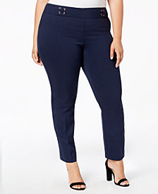 JM Collection Plus Size Laceup Detail Straight-Leg Pants, Created for Macy's