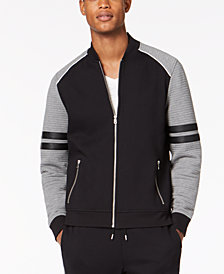 I.N.C. Men's Ramone Ottoman Ribbed Faux Leather Trim Track Jacket, Created for Macy's