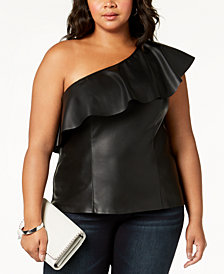 I.N.C. Plus Size One-Shoulder Faux-Leather Top, Created for Macy's