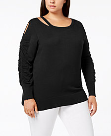 Love Scarlett Plus Size Cutout Ruched-Sleeve Sweater