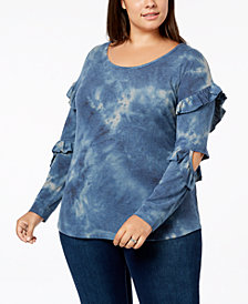 Love Scarlett Plus Size Cutout Tie-Dye Top