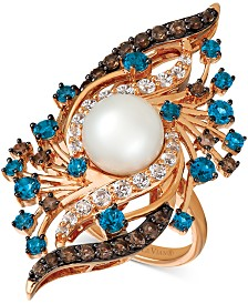 Le Vian Crazy Collection® Vanilla Pearl™ (9mm) & Multi-Gemstone (2-5/8 ct. t.w.) Ring in 14k Rose Gold