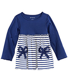 First Impressions Baby Girls Stripe & Bow Cotton Tunic, Created for Macy's