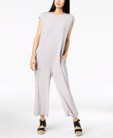 Eileen Fisher Stretch Jersey Cropped Wide-Leg Jumpsuit, Created for Macy's