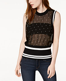 Bar III Mesh Ribbed-Trim Top, Created for Macy's