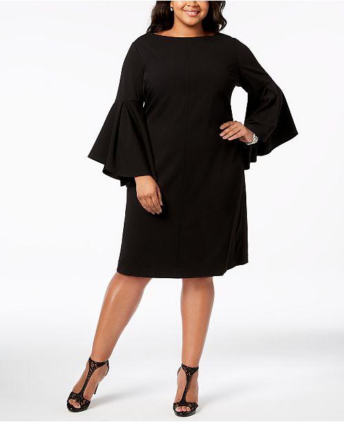 c5747d5fa4a Betsey Johnson Plus Size Bell-Sleeve Sheath Dress - Dresses - Women ...