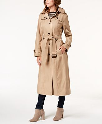 London Fog Petite Belted Maxi Trench Coat $250