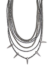 "King Baby Women's Hematite Multi-Strand Spike 18"" Statement Necklace in Sterling Silver"