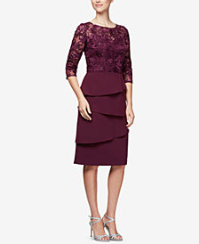 Alex Evenings Embroidered Tiered Dress, Regular & Petite