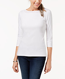 Karen Scott Petite Cotton Crochet-Trim Top, Created for Macy's